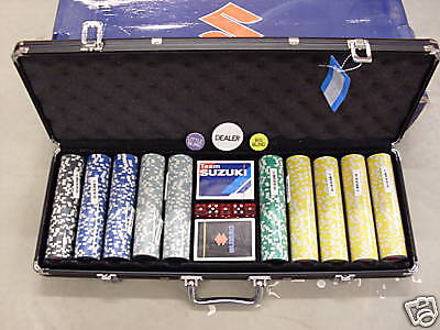 NEW SUZUKI FULL POKER SETS- CHIPS CARDS DICE in Case