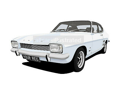 Ford Capri Mk1 Graphic Car Art Print (Size A3). Personalise It!