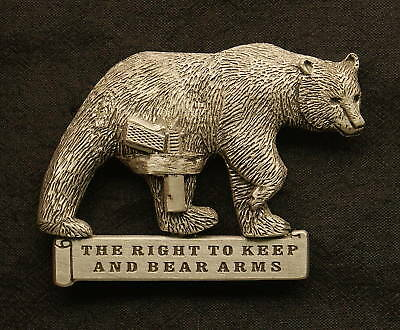 """Pewter """"The Right To Keep & Bear Arms"""" Pin- Bear w/ Gun"""