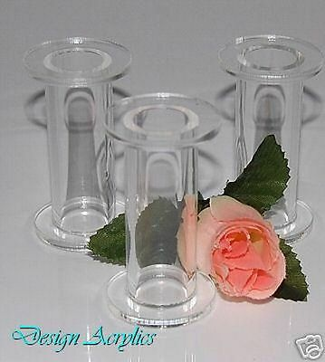3 X Clear Acrylic Tube Cake Pillars Wedding 3 Inch