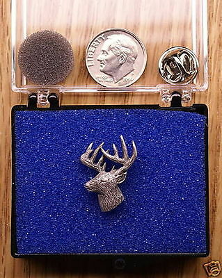 Empire Pewter 3/4 View Deer Head Pin / Tie Tack