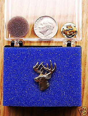 24K Gold Plated 3/4 View Deer Head  Pin / Tie Tack
