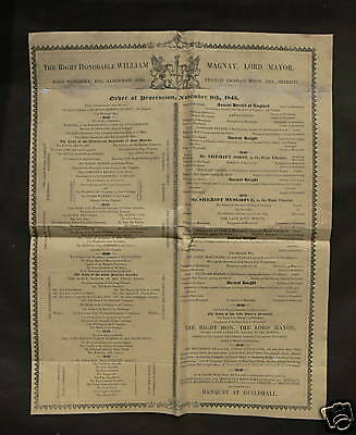 1843 Lord Mayor of London - Order of Procession Poster