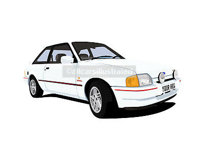 ESCORT XR3i MK4 GRAPHIC CAR ART PRINT. PERSONALISE IT!