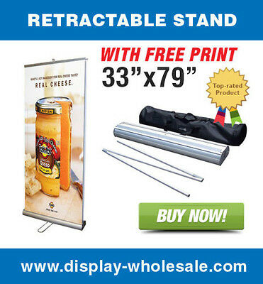"""Double-sided 33"""" Retractable Banner Stand + Vinyl Prints"""