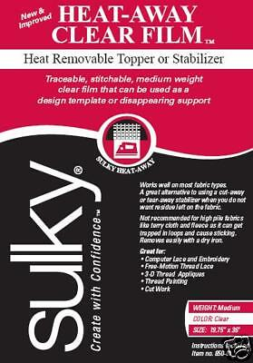 "SULKY HEAT AWAY FILM EMBROIDERY STABILIZER! 20""x25yd"