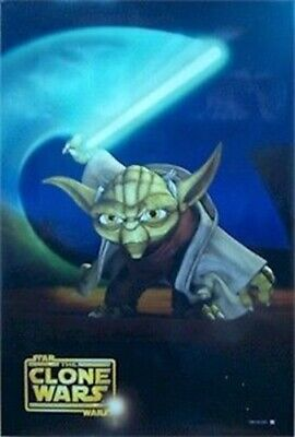 Star Wars ~ The Clone Wars Yoda Lightsaber Movie Poster