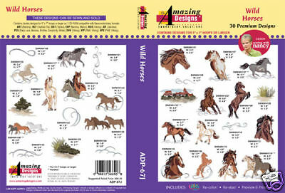 Amazing Designs Embroidery CD- Wild Horses by SWN +GIFT