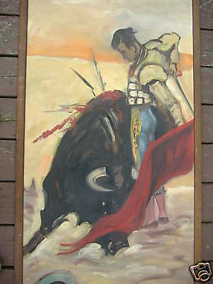 bull fighter old painting signed enzer paolino spanish
