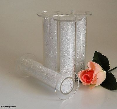 4 Clear Crystal Filled Acrylic Cake Pillars Wedding 3""