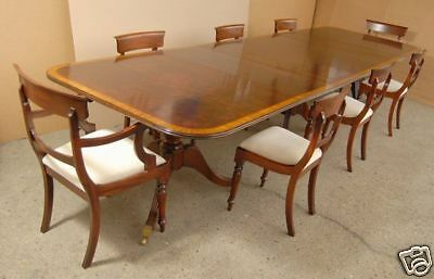 13 Ft Regency Pedestal Dining Table & 8 Chairs