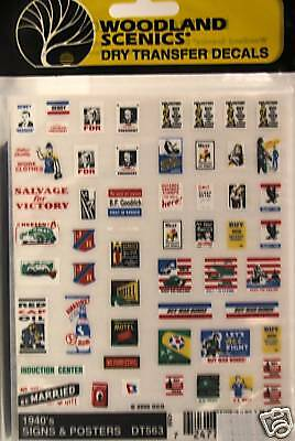 DRY TRANSFER DECALS 1960/'S SIGNS /& POSTERS NEW #561 WOODLAND SCENICS