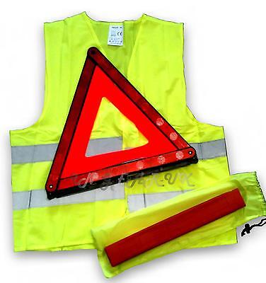 Warning triangle car van + High vis vest towing safety red emergency brakedown