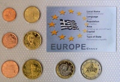 Greece Euro Coin Set - 8 Coins Mint Uncirculated-Sealed