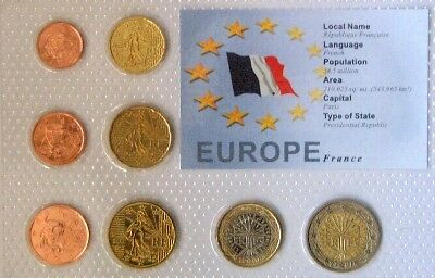 France Euro Coin Set -8 Coins Mint Uncirculated-Sealed