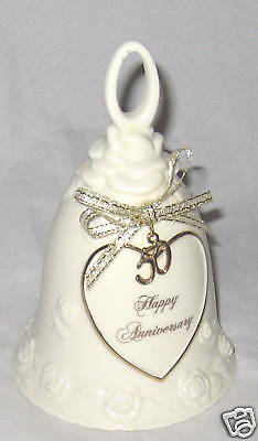 Bell White Ceramic 50th Anniversary /Gold Guiding Heart