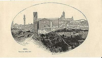 Stampa antica SIENA veduta panoramica in ovale Toscana 1892 Old antique print
