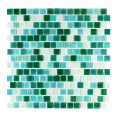 Mixed Green, Staggered Format, Iridescent Mosaic Glass Tile Kitchen & Bath