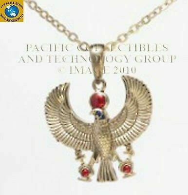 Egyptian Winged Scarab Horus With Ankh Talons And Red Gem Necklace Pendant