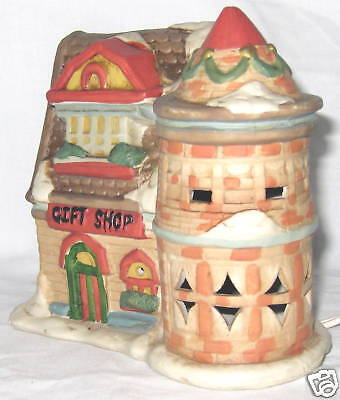 "Ceramic 6"" Lighted Multi-color Christmas Village Gift Shop House"