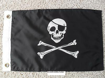 """Jolly Roger W Patch Pirate Flag 12""""x18"""" Boat/motorcycle"""