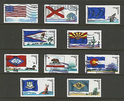Scott #4273-4282 Used Set of 10 Flags of Our Nation Set #1