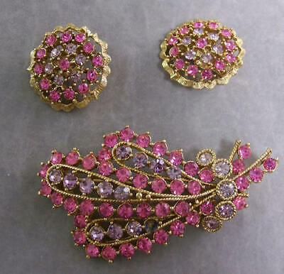 Vintage Demi Parure Brooch Clip Earrings Pink Lavender Purple Stones