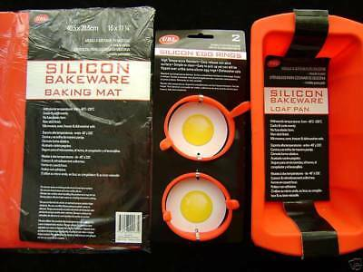 New Silicone Egg Rings Mat Loaf Mould Set 3 Red
