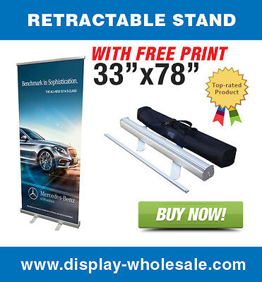 """33"""" Retractable Roll up banner stand + free vinyl print"""