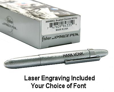 Personalized Brushed Chrome Bullet Pen Fisher Space Pen #400BRC