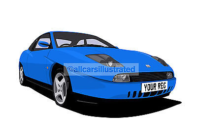 Fiat Coupe Graphic Car Art Print (Size A3). Personalise It!