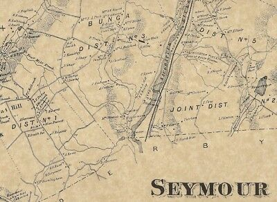 Seymour Great Hill Skokorat Rimmon CT 1868 Map with Homeowners Names Shown