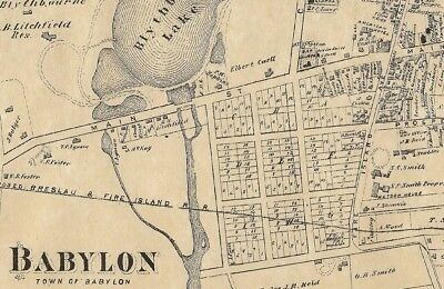 Babylon Long Island NY 1873  Map with Homeowners Names Shown