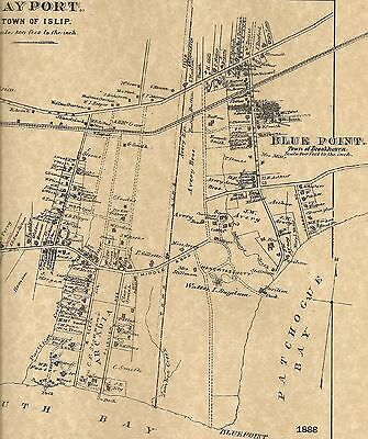 Bayport Blue Point Islip, NY 1888 Maps with Homeowners Names Shown