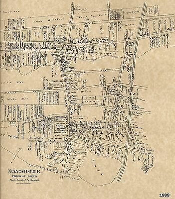 Bayshore Brentwood West Sayville Islip NY 1888 Maps with Homeowners Names Shown