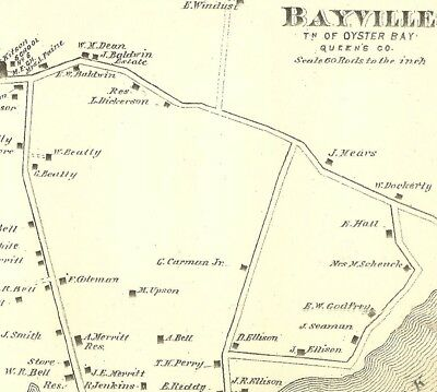 Bayville Locust Valley Matinecock Lattingtown NY 1873 Maps with Homeowners Shown