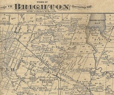 Brighton Gates Center Pittsford NY 1872 Map with Homeowners Names Shown