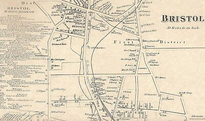 Bristol Forestville CT 1869 Maps with Businesses and Homeowners Names Shown