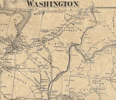 Washington New Preston Marbledale CT  1874 Maps with Homeowners Names Shown
