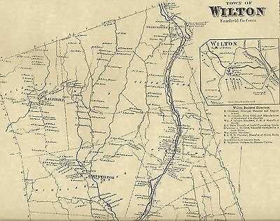 Wilton Cannondale Georgetown Gilbert Corners CT 1867 Map Homeowners Names Shown
