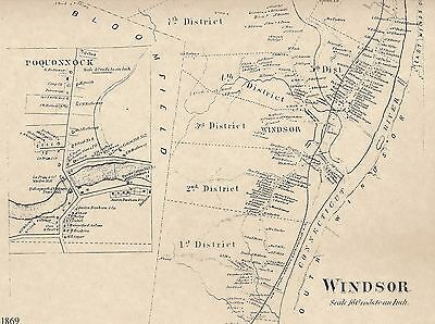 Windsor Poquonock Breakneck CT 1869 Maps with Homeowners Names Shown