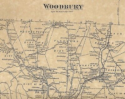 Woodbury Hotchkissville Pomperaug CT 1874 Maps with Homeowners Names Shown