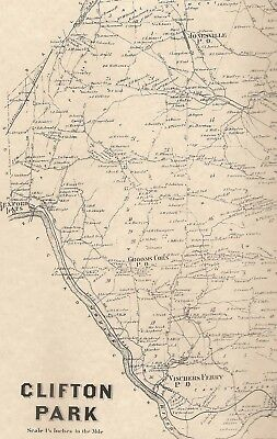 Clifton Park Half Moon Crescent NY 1866 Maps with Homeowners Names Shown