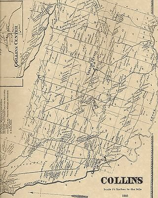 Collins Gowanda Iroquois Clarence NY 1866 Maps with Homeowners Names Shown