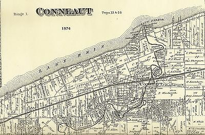 Conneaut South Ridge Pierpont Amboy Ohio 1874 Maps with Homeowners Names Shown
