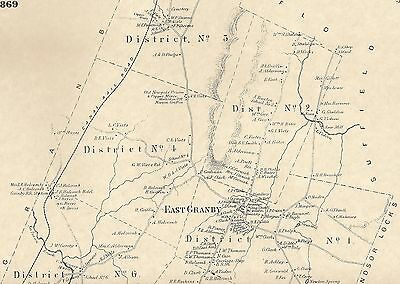 East Granby Farmington River CT 1869  Map with Homeowners Names Shown