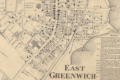 East Greenwich Bartons Corner Frys Corner  RI 1870  Maps with Homeowners Names