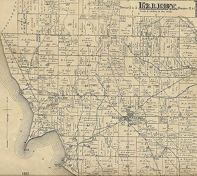 Ellery Bemus Point NY 1881 Map with Homeowners Shown