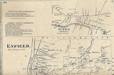 Enfield Thompsonville CT 1869 Maps with Businesses and Homeowners Names Shown