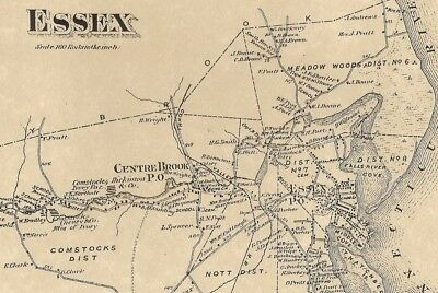 Essex  Deep River Centerbrook  CT 1874  Maps with Homeowners Names Shown